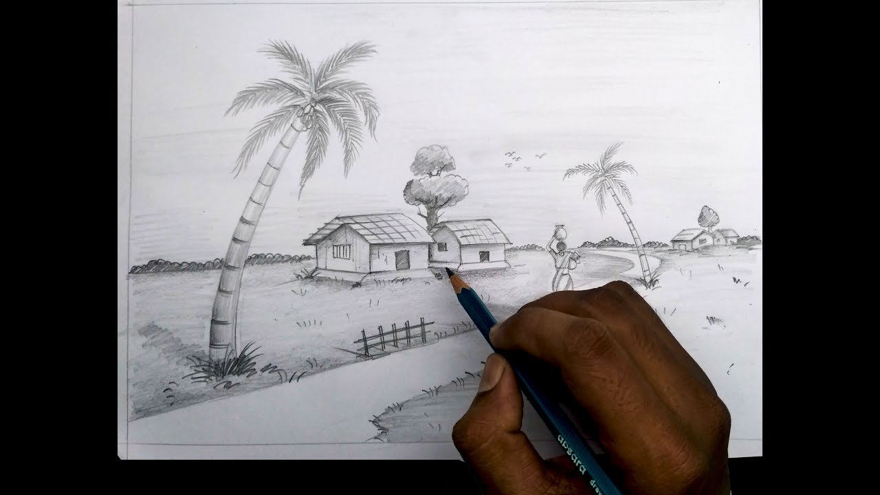 How to draw village scenery light and shadow scene by pencil sketch
