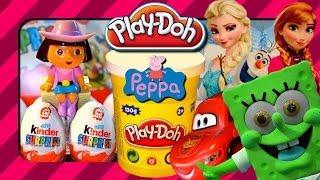 Play Doh Dora Surprise Eggs Playdoh Frozen Surprise Eggs Spongebob Cars Frozen Elsa Kids Toys