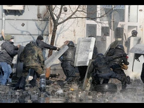 UKRAINE Protesters Fight Off POLICE in KIEV -  Riots Grenades Gunfire Water Cannons