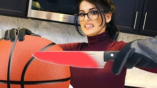 EXPERIMENT Glowing 1000 degree HOT KNIFE VS BASKETBALL