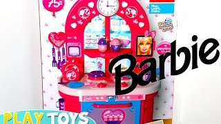 Cute little girl Playing with Barbie Doll Kitchen toy set - kids cooking cupcakes & cakes