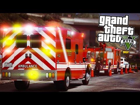 GTA 5 - Rescue Ep3 - Paramedics Respond to an MVA!!