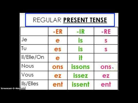 French Verb Endings Songs