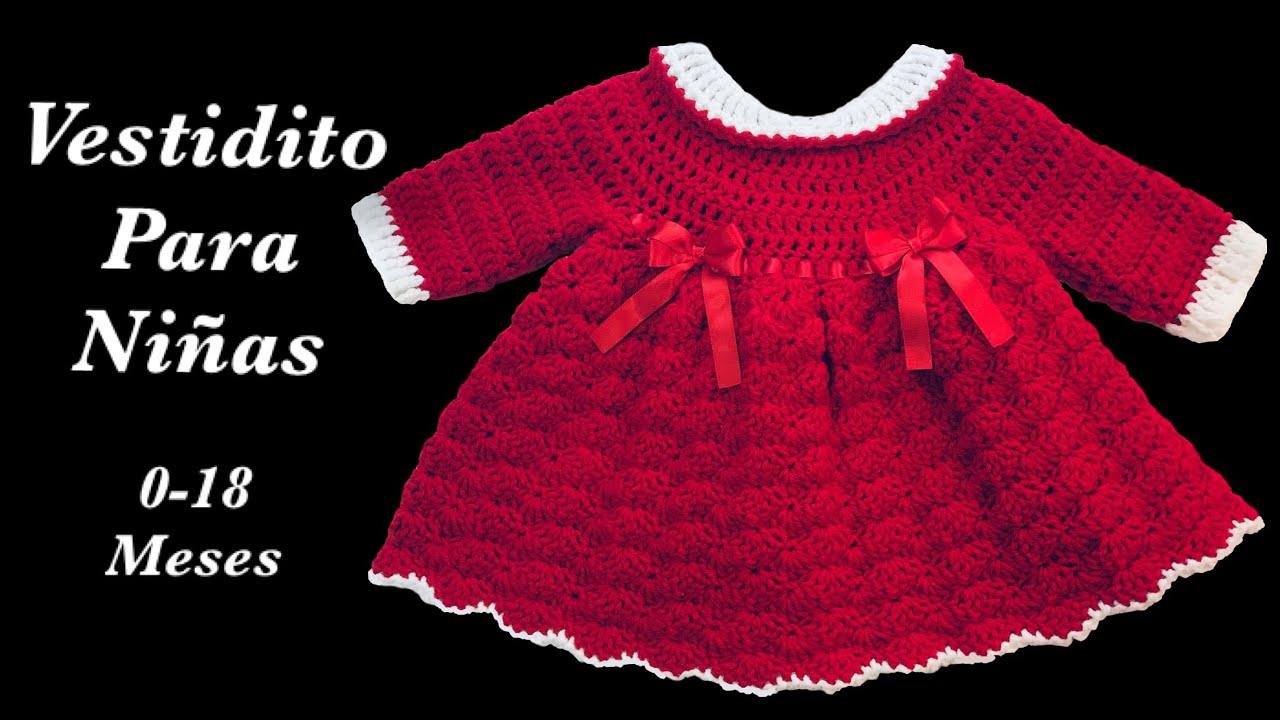 Como Tejer Vestido Para Niñas En Gancho O A Crochet Fácil Y Rápido 9 12 Meses Crochet For Baby 160