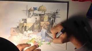 Drawing Time Lapse: Santorini (Greece)