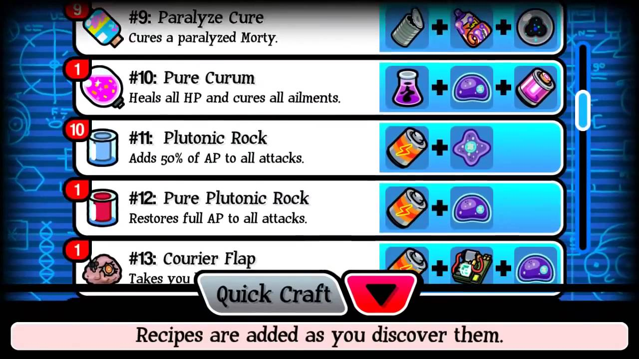 pocket mortys all 34 crafting recipes youtube