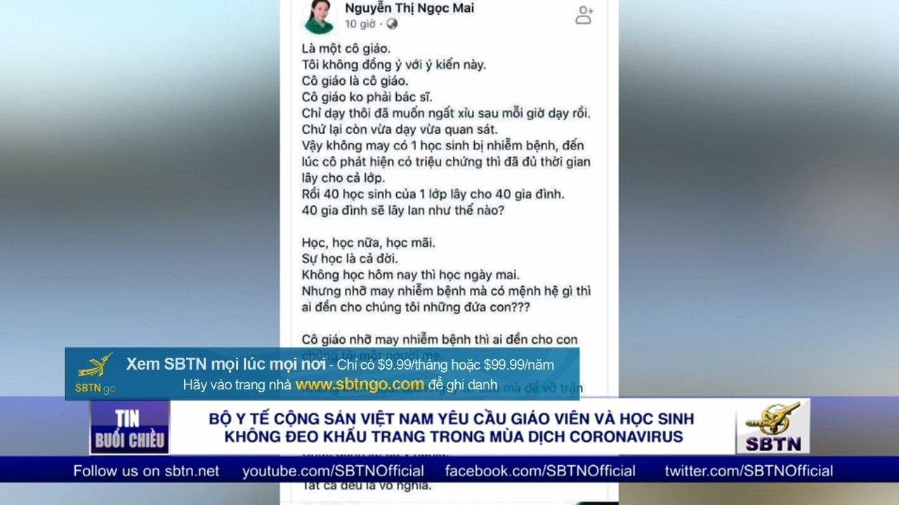 Bộ Y Tế CSVN nói giáo viên & học sinh không cần đeo khẩu trang trong mùa dịch covid19