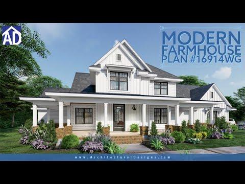Architectural Designs Modern Farmhouse Plan 16914WG Virtual Tour!
