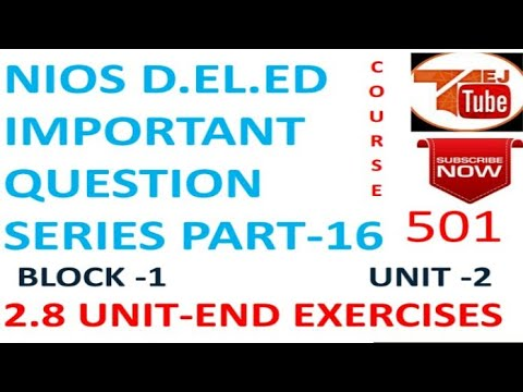 NIOS D.EL.ED IMPORTANT QUESTION SERIES PART-16 Free Online Education Books College Degree |TEJ TUBE