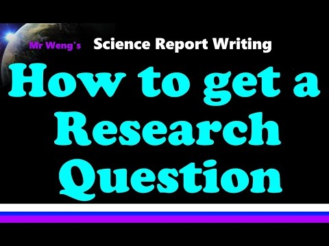 How to get a research question for IB IA, EE, or Science fair project for all IB Sciences