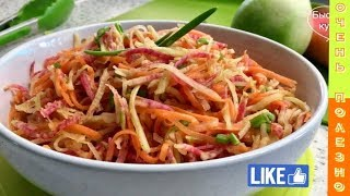 Витаминная добавка к обеду за 7 минут. Салат с репкой и морковью.