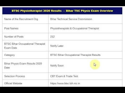 BTSC Bihar Physiotherapist Results 2020 pariksha.nic.in Occupational The...