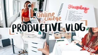 PRODUCTIVE *ONLINE* COLLEGE DAY IN MY LIFE | Zoom Classes, Homework, Workout w/ Me, Desk Tour!