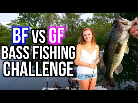 BF vs GF BASS FISHING CHALLENGE!!!!