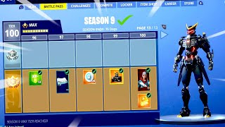 *BRAND NEW* SEASON 9 BATTLE PASS in Fortnite Battle Royale ! ( ALL UNLOCKED)