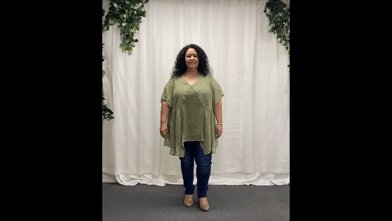 Plus Size Chiffon Top In Sage Pink Floral CH5424D
