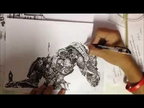Speed Drawing : Optimus Prime, Transformer (วาดภาพลายเส้นโดย ไก่เขี่ย) KMITL