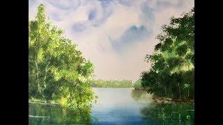 Рисуем весеннюю зелень акварелью. Spring foliage in watercolour