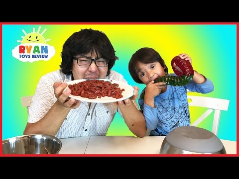 Thumbnail: Real Food vs Gummy Food Challenge! Kid React to gross candy world's largest gummy worms