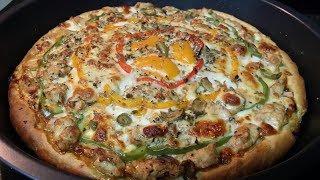 Pizza/Chicken Pizza/Italian Style Chicken Pizza At Home/Best Delicious Pizza Recipe/Homemade Pizza
