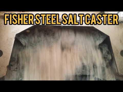 FISHER Steel Caster Salt Spreader Conveyer Belt In Action Snow And Ice Management (Salty!!)