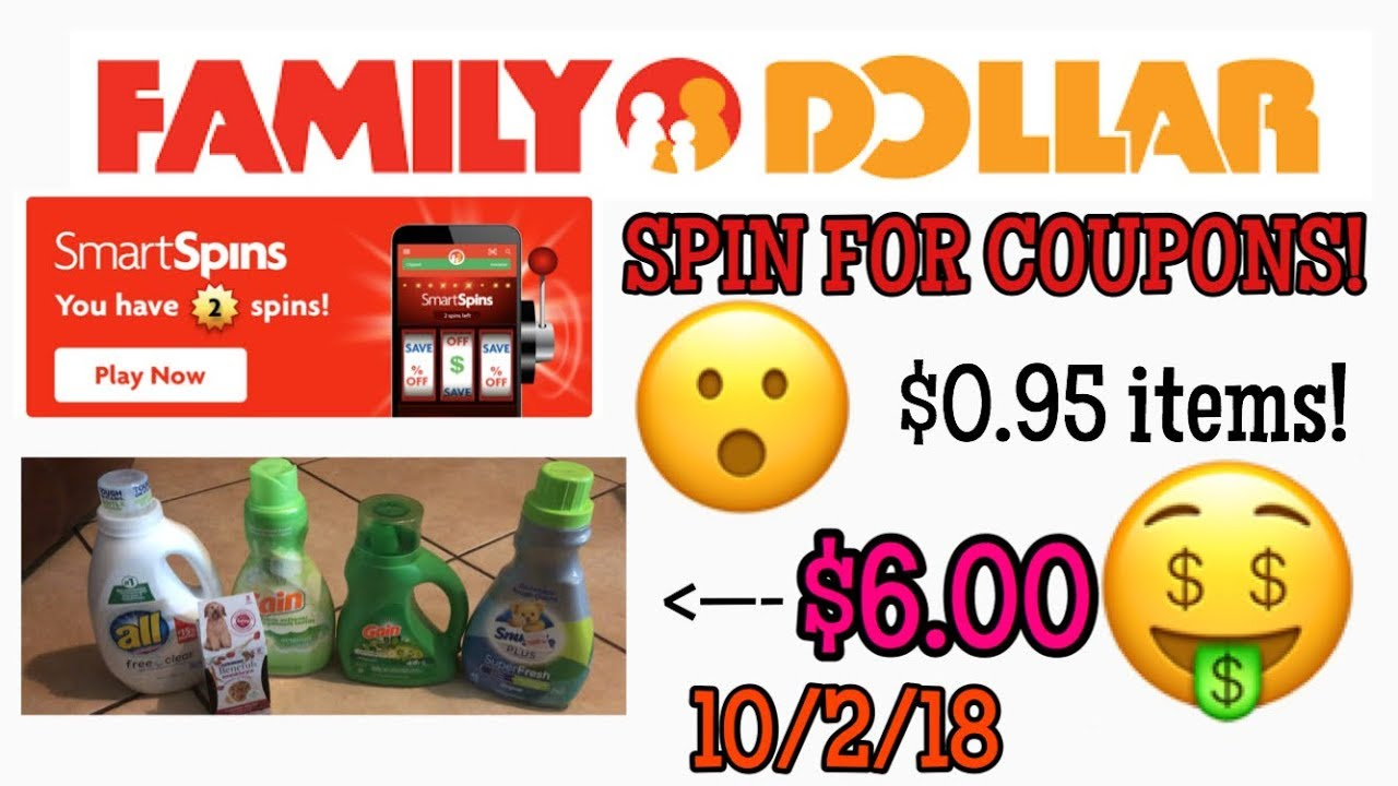 FAMILY DOLLAR  Spin The Wheel Game? $6 For Laundry Items!! 10/2/18