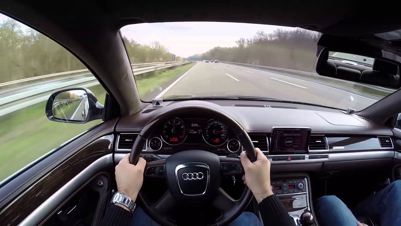 audi a8l 6 0 w12 2008 on german autobahn pov top speed. Black Bedroom Furniture Sets. Home Design Ideas