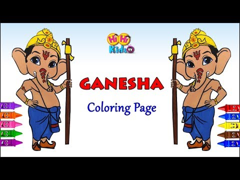 Ganesha Coloring Page   How to draw Ganesha  Learn Colors with Ganesha