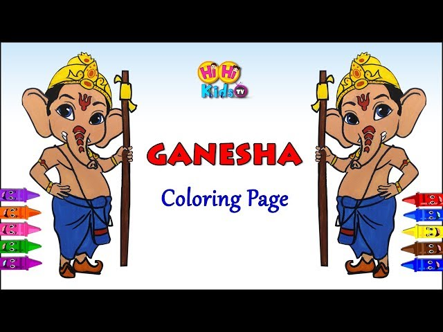 Ganesha Coloring Page | How to draw Ganesha| Learn Colors with Ganesha