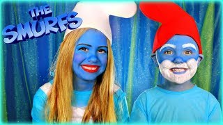 The Smurfs Smurfette and Papa Smurf Makeup and Costumes