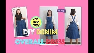 CONVERT A DENIM MAXI SKIRT INTO AN OVERALL DRESS,  SEWING PROJECT FOR BEGINNERS