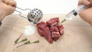 バラバラの肉に白い粉を加えて液体を注入した結果