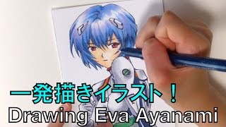 【イラスト一発描き】エヴァンゲリオン 綾波レイを描いてみた。 How to draw Rei Ayanami from Evangelion コピックと色鉛筆で手描きイラスト綾波レイ 綾波レイ 検索動画 11