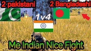 pakistan+bangladesh vs india pubg front fights 1vs4