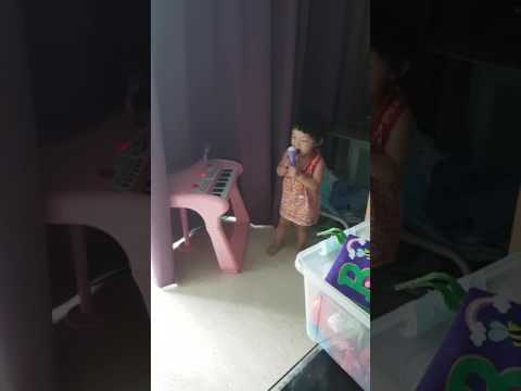 1 year old baby singing at home