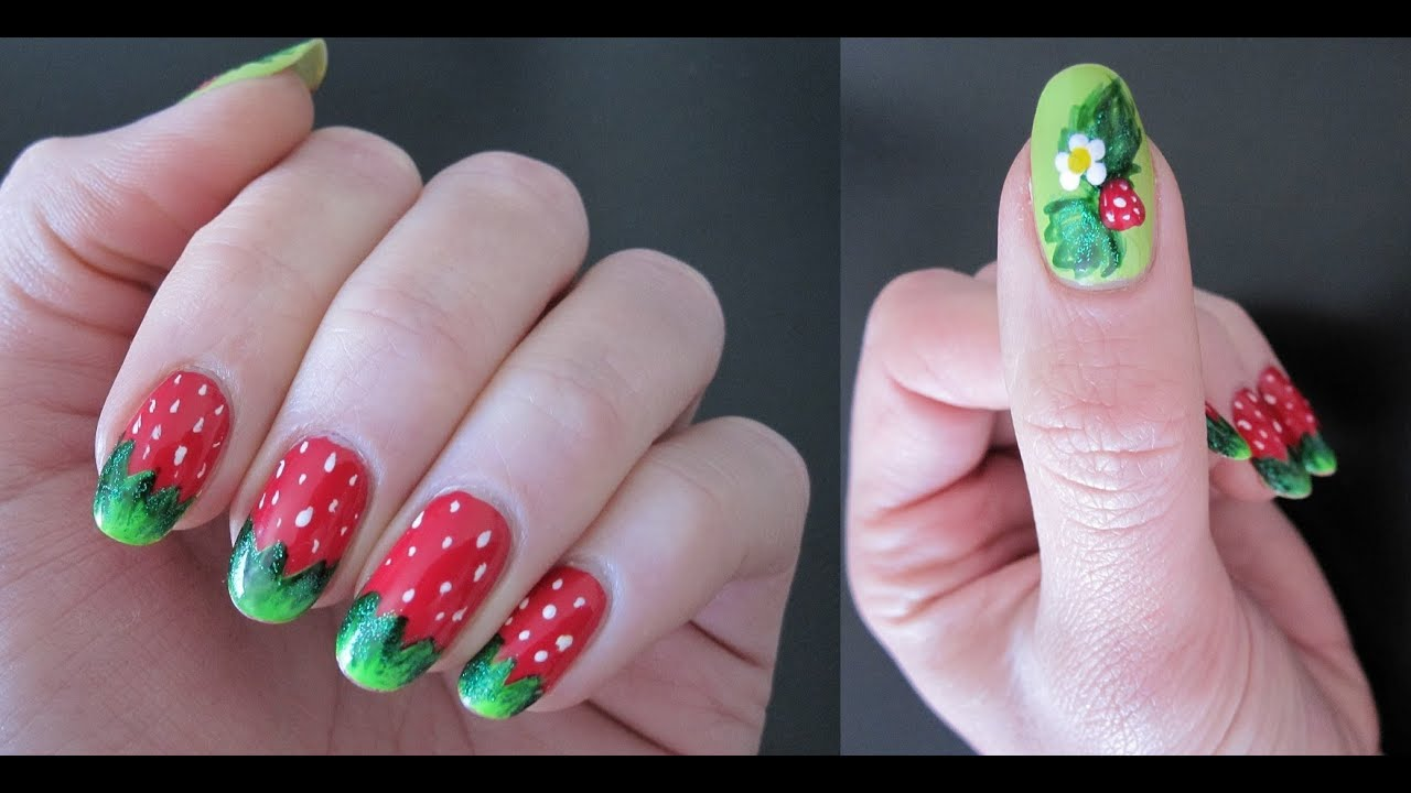 Sweet strawberry nail art fruitberry manicure youtube prinsesfo Images