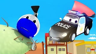 The Car Patrol : Hector the Helicopter is stuck on a tree in Car City | Cars Trucks cartoon children
