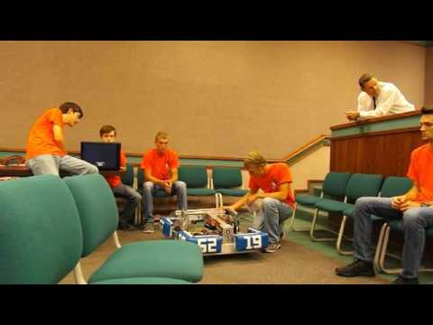 Cuttin' Edge, the rookie Sullivan Central High School FIRST robotics team, gives a demonstration of