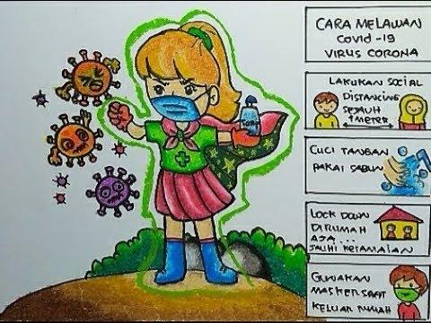 Cara Gambar Dan Mewarnai Poster Tema Cara Melawan Virus Corona Covid 19 Youtube