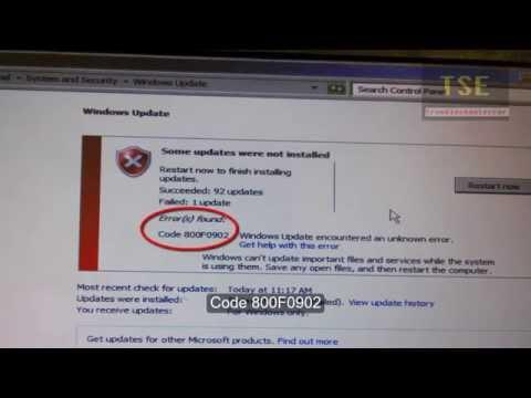 Windows Update Error(s) found: Code 800F0902 8024001F