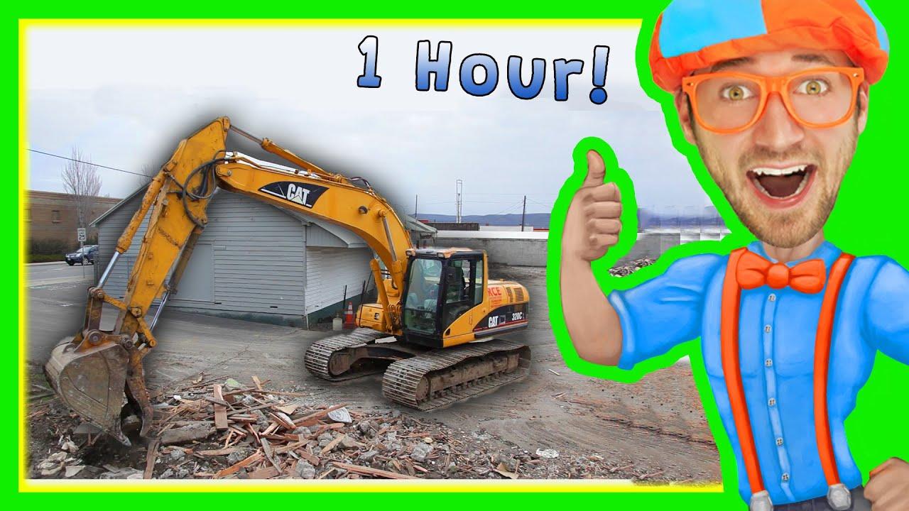 Excavators for Children with Blippi | 1 Hour Long Children's Show!