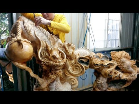 Amazing Wood Products | Fastest Skill Wood Dragon Carving With Chainsaw | Extreme Woodworking Skills