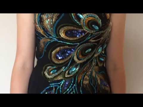 Year 12 Formalwear - Stunning Peacock Chiffon Dress
