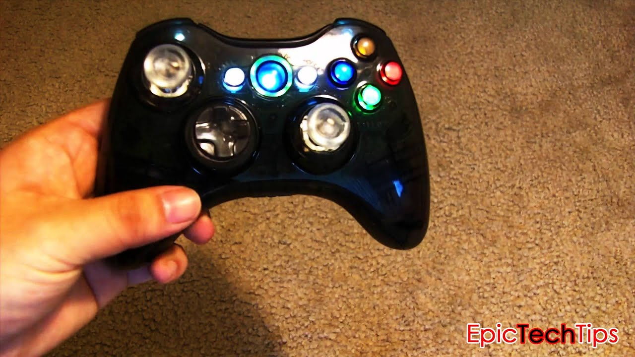 Custom Xbox 360 Controller Axby Led Light Up Mod Smoked Grey