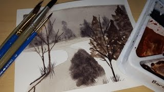 Watercolor for Beginners #8 ~ Simple Winter Scene ~ Only Two Colors