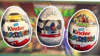 3 Opening Cars Star Wars Teenage Mutant Ninja Turtles TMNT Kinder Surprise Eggs #204