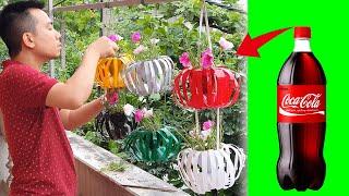플라스틱 병을 랜턴 냄비로 재활용 정원을위한 아름다운 …