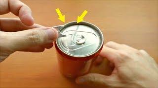 可樂罐的拉環斷了!用一張白紙一下子就打開...