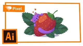 Рисуем котика с ягодой в Adobe Illustrator | уроки для новичков