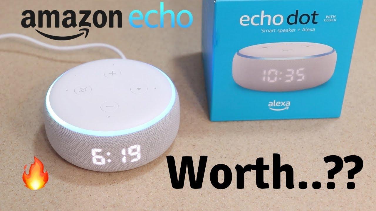 Eco Dot (3rd Gen) com relógio | Página inicial do Amazon Alexa Smart | Unboxing de tecnologia 🔥 + vídeo